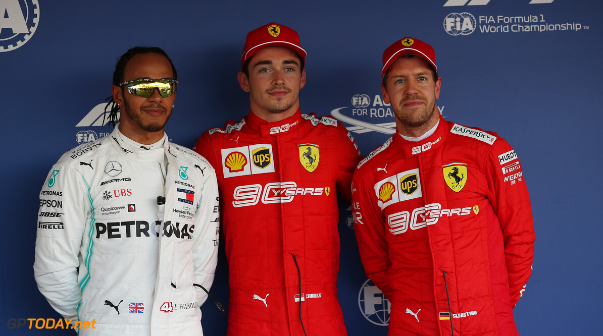Formula One World Championship Pole Position for Charles Leclerc (MON) Ferrari SF90, 2nd for Lewis Hamilton (GBR) Mercedes AMG F1 W10 and 3rd for Sebastian Vettel (GER) Ferrari SF90. 28.09.2019. Formula 1 World Championship, Rd 16, Russian Grand Prix, Sochi Autodrom, Sochi, Russia, Qualifying Day. - www.xpbimages.com, EMail: requests@xpbimages.com - copy of publication required for printed pictures. Every used picture is fee-liable. (C) Copyright: Filipe / XPB Images Motor Racing - Formula One World Championship - Russian Grand Prix - Qualifying Day - Sochi, Russia XPB Images Sochi Russia  Formel1 Formel F1 Formula 1 Formula1 GP Grand Prix one Russia Russian Sochi Sochi Autodrom Sochi Autodrome Autodrome Autodrom Saturday September 28 09 9 2019 Qualifying Portrait