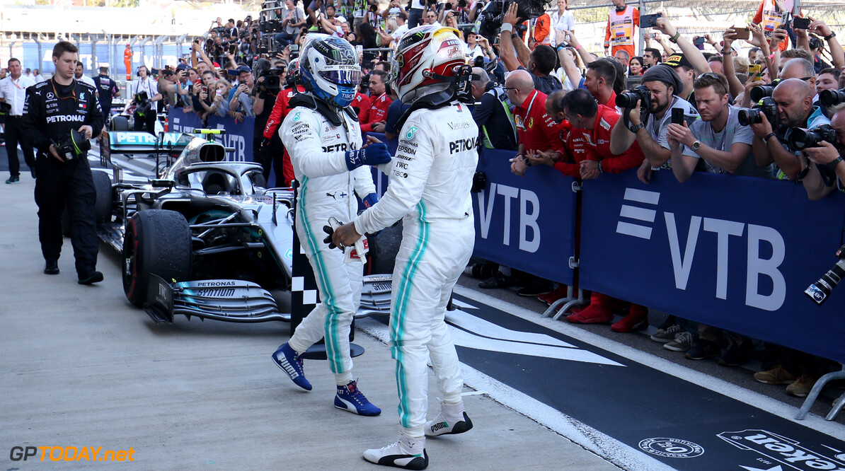 Formula One World Championship Valtteri Bottas (FIN), Mercedes AMG F1 and Lewis Hamilton (GBR), Mercedes AMG F1   29.09.2019. Formula 1 World Championship, Rd 16, Russian Grand Prix, Sochi Autodrom, Sochi, Russia, Race Day. - www.xpbimages.com, EMail: requests@xpbimages.com - copy of publication required for printed pictures. Every used picture is fee-liable. (C) Copyright: Charniaux / XPB Images Motor Racing - Formula One World Championship - Russian Grand Prix - Race Day - Sochi, Russia XPB Images Sochi Russia  Formel1 Formel F1 Formula 1 Formula1 GP Grand Prix one Russia Russian Sochi Sochi Autodrom Sochi Autodrome Autodrome Autodrom Sunday September 29 09 9 2019 Podium Portrait