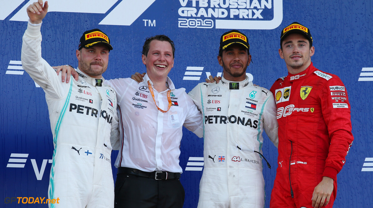 Formula One World Championship 1st place Lewis Hamilton (GBR) Mercedes AMG F1 W10, 2nd Valtteri Bottas (FIN) Mercedes AMG F1 W10 and 3rd place Charles Leclerc (MON) Ferrari SF90. 29.09.2019. Formula 1 World Championship, Rd 16, Russian Grand Prix, Sochi Autodrom, Sochi, Russia, Race Day. - www.xpbimages.com, EMail: requests@xpbimages.com - copy of publication required for printed pictures. Every used picture is fee-liable. (C) Copyright: Batchelor / XPB Images Motor Racing - Formula One World Championship - Russian Grand Prix - Race Day - Sochi, Russia XPB Images Sochi Russia  Formel1 Formel F1 Formula 1 Formula1 GP Grand Prix one Russia Russian Sochi Sochi Autodrom Sochi Autodrome Autodrome Autodrom Sunday September 29 09 9 2019 Podium Portrait