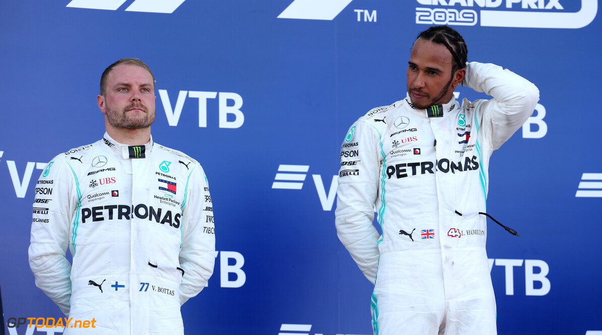 Formula One World Championship Valtteri Bottas (FIN) Mercedes AMG F1 W10 and Lewis Hamilton (GBR) Mercedes AMG F1 W10. 29.09.2019. Formula 1 World Championship, Rd 16, Russian Grand Prix, Sochi Autodrom, Sochi, Russia, Race Day. - www.xpbimages.com, EMail: requests@xpbimages.com - copy of publication required for printed pictures. Every used picture is fee-liable. (C) Copyright: Batchelor / XPB Images Motor Racing - Formula One World Championship - Russian Grand Prix - Race Day - Sochi, Russia XPB Images Sochi Russia  Formel1 Formel F1 Formula 1 Formula1 GP Grand Prix one Russia Russian Sochi Sochi Autodrom Sochi Autodrome Autodrome Autodrom Sunday September 29 09 9 2019 Podium Portrait