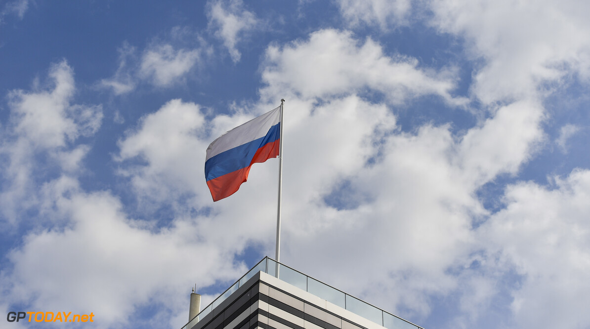 2019 Russian GP SOCHI AUTODROM, RUSSIAN FEDERATION - SEPTEMBER 27: The Russian flag during the Russian GP at Sochi Autodrom on September 27, 2019 in Sochi Autodrom, Russian Federation. (Photo by Simon Galloway / LAT Images) 2019 Russian GP Simon Galloway  Russian Federation  atmosphere Pirelli ts-live