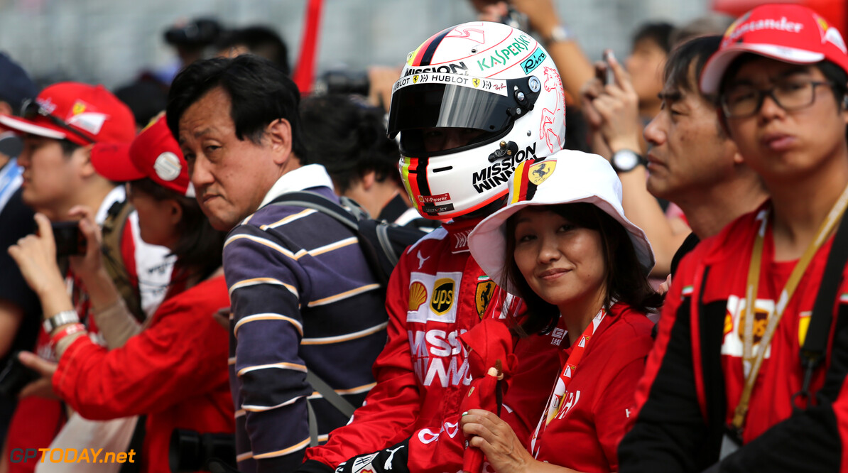 Formula One World Championship Sebastian Vettel (GER), Scuderia Ferrari fans 10.10.2019. Formula 1 World Championship, Rd 17, Japanese Grand Prix, Suzuka, Japan, Preparation Day. - www.xpbimages.com, EMail: requests@xpbimages.com - copy of publication required for printed pictures. Every used picture is fee-liable. (C) Copyright: Charniaux / XPB Images Motor Racing - Formula One World Championship - Japanese Grand Prix - Preparation Day - Suzuka, Japan XPB Images Suzuka Japan  Formel1 Formel F1 Formula 1 Formula1 GP Grand Prix one Suzuka Circuit Thursday Portrait Japan Japanese October 10 2019