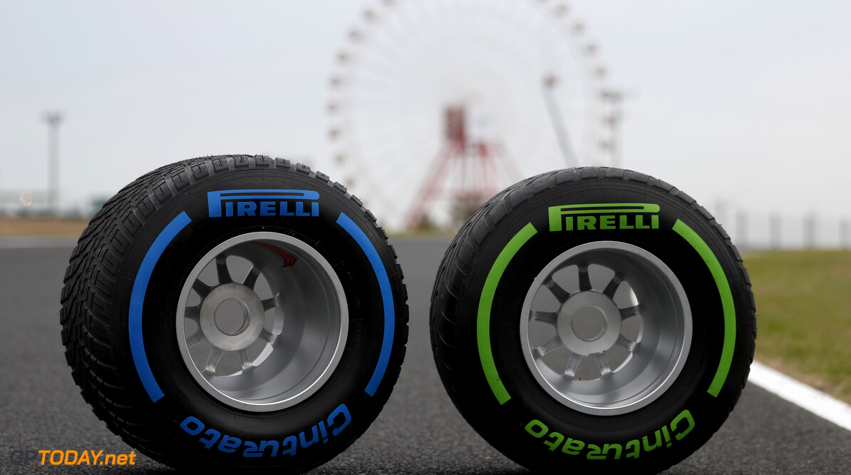 2019 Japanese GP SUZUKA, JAPAN - OCTOBER 10: Pirelli wet and intermediate tyres during the Japanese GP at Suzuka on October 10, 2019 in Suzuka, Japan. (Photo by Zak Mauger / LAT Images) 2019 Japanese GP Zak Mauger  Japan  portrait track ts-live