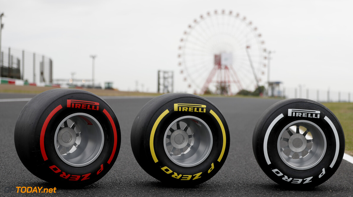 2019 Japanese GP SUZUKA, JAPAN - OCTOBER 10: Pirelli, soft, medium and hard tyres during the Japanese GP at Suzuka on October 10, 2019 in Suzuka, Japan. (Photo by Zak Mauger / LAT Images) 2019 Japanese GP Zak Mauger  Japan  tyres track ts-live