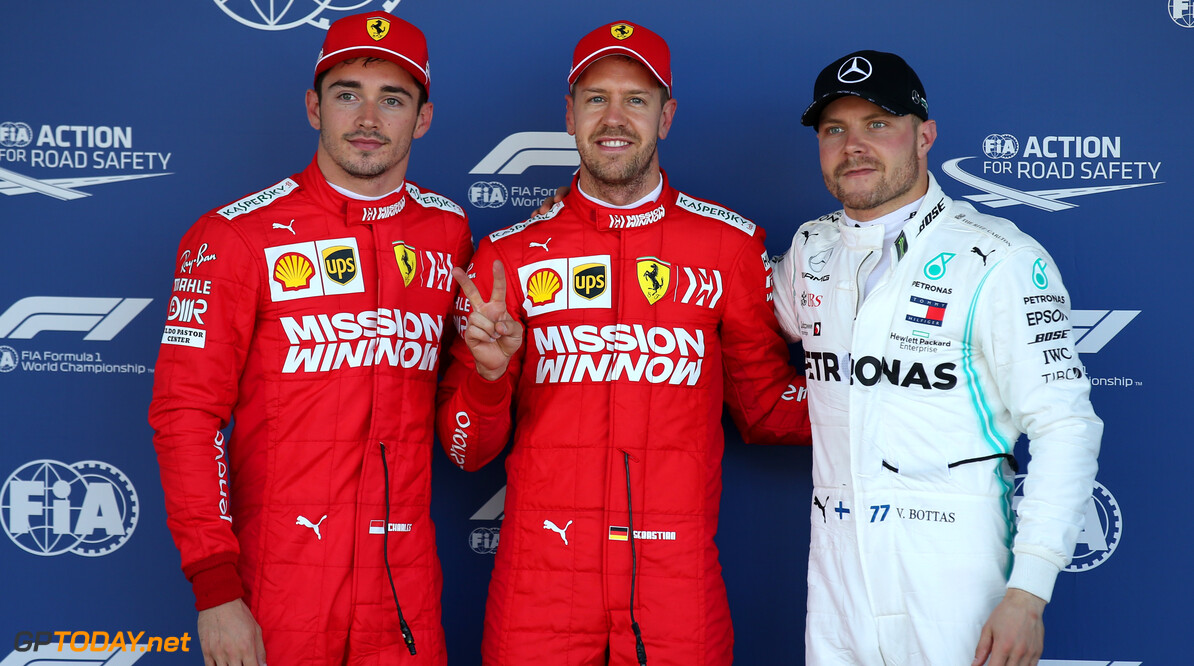 Formula One World Championship Pole position for Sebastian Vettel (GER) Ferrari SF90, 2nd for Charles Leclerc (MON) Ferrari SF90 and 3rd for Valtteri Bottas (FIN) Mercedes AMG F1 W10. 13.10.2019. Formula 1 World Championship, Rd 17, Japanese Grand Prix, Suzuka, Japan, Qualifying Day. - www.xpbimages.com, EMail: requests@xpbimages.com - copy of publication required for printed pictures. Every used picture is fee-liable. (C) Copyright: Batchelor / XPB Images Motor Racing - Formula One World Championship - Japanese Grand Prix - Qualifying Day - Suzuka, Japan XPB Images Suzuka Japan  Formel1 Formel F1 Formula 1 Formula1 GP Grand Prix one Suzuka Circuit Japan Japanese Sunday October 13 10 2019 Qualifying Portrait