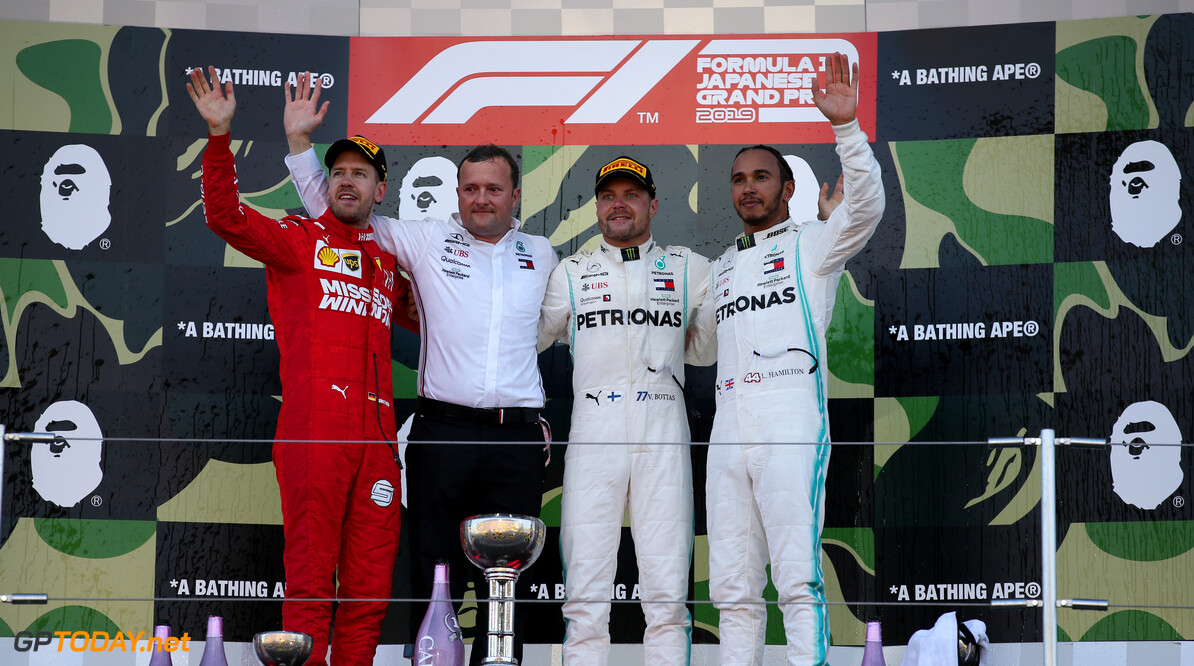 Formula One World Championship 1st place Valtteri Bottas (FIN) Mercedes AMG F1 W10, 2nd place Sebastian Vettel (GER) Ferrari SF90 and 3rd place Lewis Hamilton (GBR) Mercedes AMG F1 W10. 13.10.2019. Formula 1 World Championship, Rd 17, Japanese Grand Prix, Suzuka, Japan, Race Day. - www.xpbimages.com, EMail: requests@xpbimages.com - copy of publication required for printed pictures. Every used picture is fee-liable. (C) Copyright: Batchelor / XPB Images Motor Racing - Formula One World Championship - Japanese Grand Prix - Race Day - Suzuka, Japan XPB Images Suzuka Japan  Formel1 Formel F1 Formula 1 Formula1 GP Grand Prix one Suzuka Circuit Japan Japanese Sunday October 13 10 2019 Podium Portrait