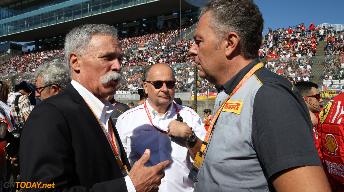 Formula One World Championship Chase Carey (USA) Formula One Group Chairman with Mario Isola (ITA) Pirelli Racing Manager on the grid 13.10.2019. Formula 1 World Championship, Rd 17, Japanese Grand Prix, Suzuka, Japan, Race Day. - www.xpbimages.com, EMail: requests@xpbimages.com - copy of publication required for printed pictures. Every used picture is fee-liable. (C) Copyright: Batchelor / XPB Images Motor Racing - Formula One World Championship - Japanese Grand Prix - Race Day - Suzuka, Japan XPB Images Suzuka Japan  Formel1 Formel F1 Formula 1 Formula1 GP Grand Prix one Suzuka Circuit Japan Japanese Sunday October 13 10 2019 Grid Portrait