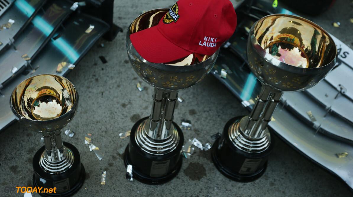 Formula One World Championship Niki Lauda cap with the trophies. 13.10.2019. Formula 1 World Championship, Rd 17, Japanese Grand Prix, Suzuka, Japan, Race Day. - www.xpbimages.com, EMail: requests@xpbimages.com - copy of publication required for printed pictures. Every used picture is fee-liable. (C) Copyright: Bearne / XPB Images Motor Racing - Formula One World Championship - Japanese Grand Prix - Race Day - Suzuka, Japan XPB Images Suzuka Japan  Formel1 Formel F1 Formula 1 Formula1 GP Grand Prix one Suzuka Circuit Japan Japanese Sunday October 13 10 2019 Podium Portrait