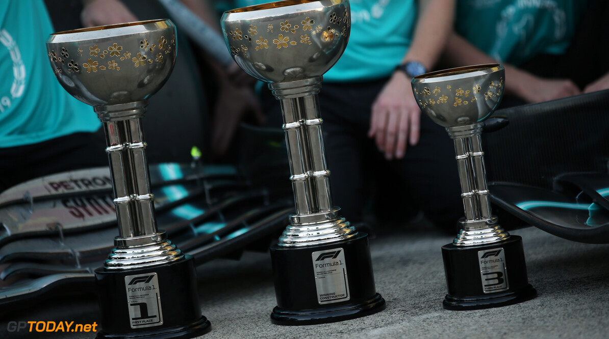 Formula One World Championship 1st and 3rd place trophies. 13.10.2019. Formula 1 World Championship, Rd 17, Japanese Grand Prix, Suzuka, Japan, Race Day. - www.xpbimages.com, EMail: requests@xpbimages.com - copy of publication required for printed pictures. Every used picture is fee-liable. (C) Copyright: Batchelor / XPB Images Motor Racing - Formula One World Championship - Japanese Grand Prix - Race Day - Suzuka, Japan XPB Images Suzuka Japan  Formel1 Formel F1 Formula 1 Formula1 GP Grand Prix one Suzuka Circuit Japan Japanese Sunday October 13 10 2019 Podium Portrait