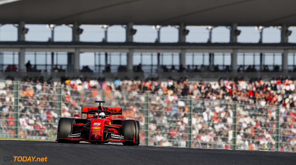 2019 Japanese GP SUZUKA, JAPAN - OCTOBER 13: Sebastian Vettel, Ferrari SF90 during the Japanese GP at Suzuka on October 13, 2019 in Suzuka, Japan. (Photo by Steven Tee / LAT Images) 2019 Japanese GP Steven Tee  Japan  action ts-live
