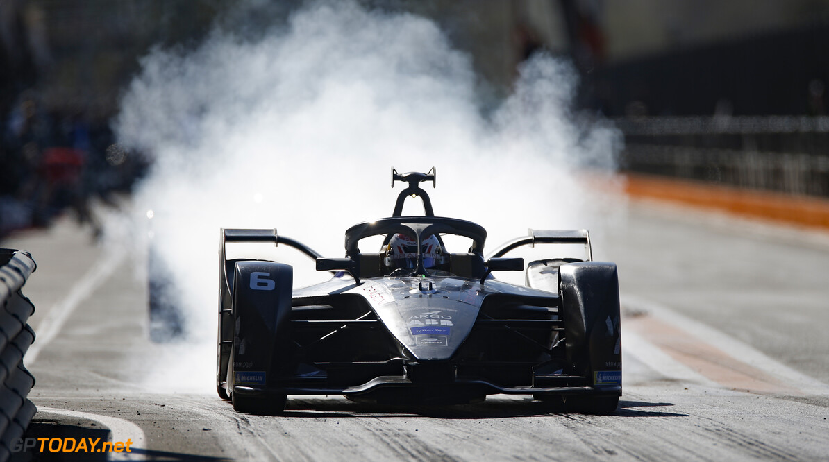 Brendan Hartley (NZL), GEOX Dragon, Penske EV-4, burn out in the pit lane   Andrew Ferraro    action