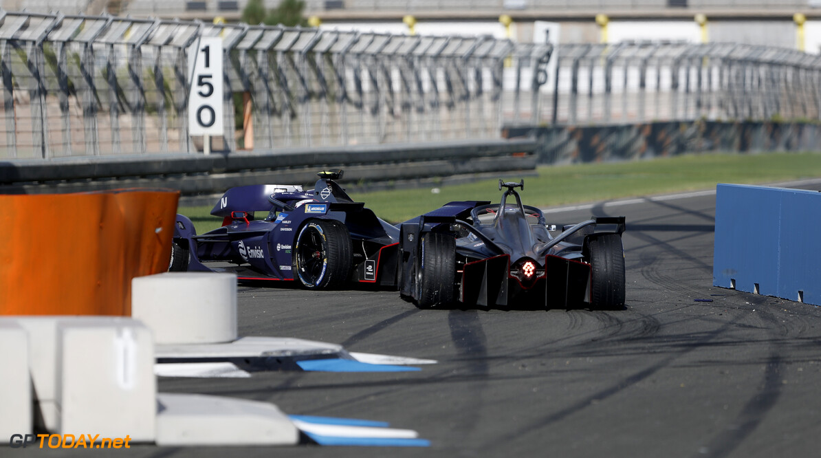 Sam Bird (GBR), Envision Virgin Racing, Audi e-tron FE06 and Brendon Hartley (NZL), GEOX Dragon, Penske EV-4   Sam Bloxham    action