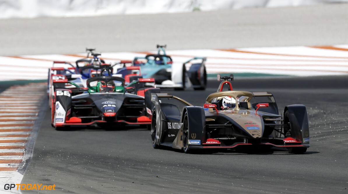 Jean-Eric Vergne (FRA), DS Techeetah, DS E-Tense FE20, Daniel Abt (DEU), Audi Sport ABT Schaeffler, Audi e-tron FE06   Joe Portlock    action