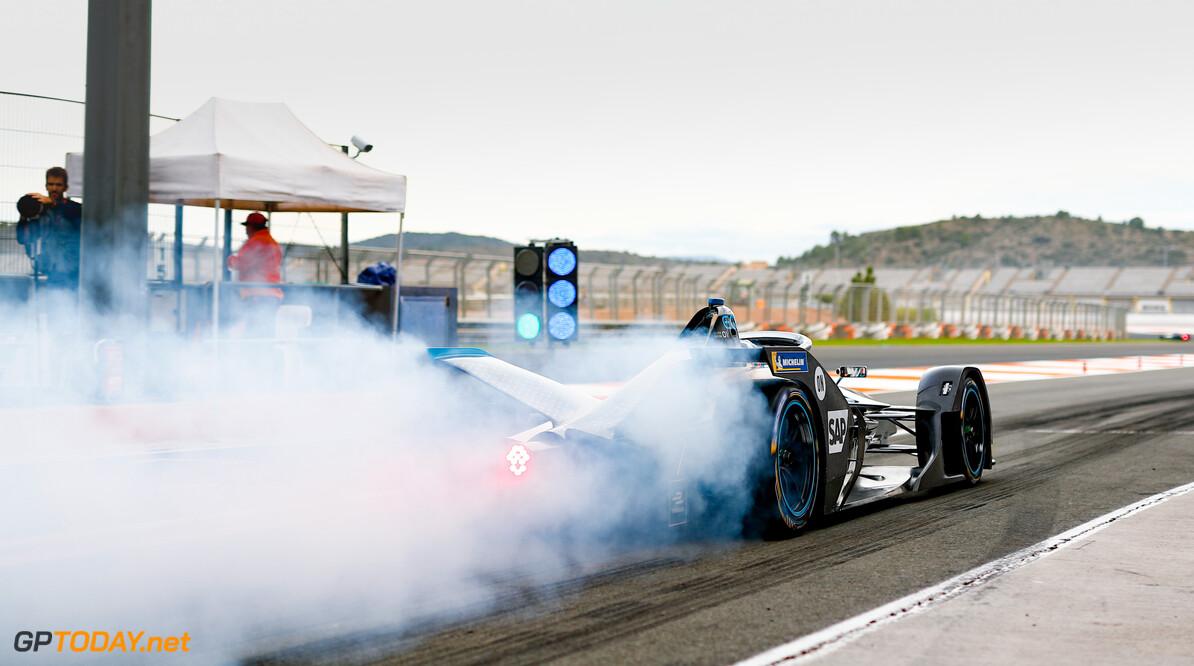 Stoffel Vandoorne (BEL), Mercedes Benz EQ Formula, EQ Silver Arrow 01, at the end of the pit lane doing a burn out   Sam Bloxham    action rear