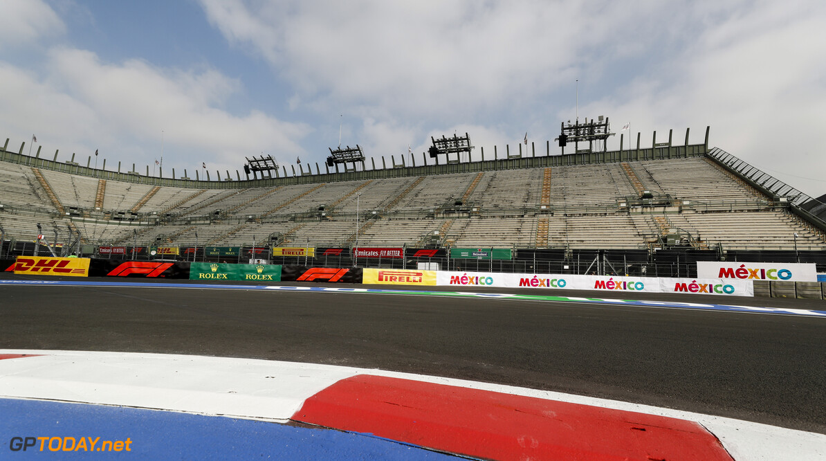2019 Mexican GP MEXICO CITY - OCTOBER 24: General View during the 2019 Formula One Mexican Grand Prix at Autodromo Hermanos Rodriguez, on October 24, 2019 in Mexico City, Mexico. (Photo by Steven Tee / LAT Images) 2019 Mexican GP Steven Tee  Mexico  pirelli dhl ts-live