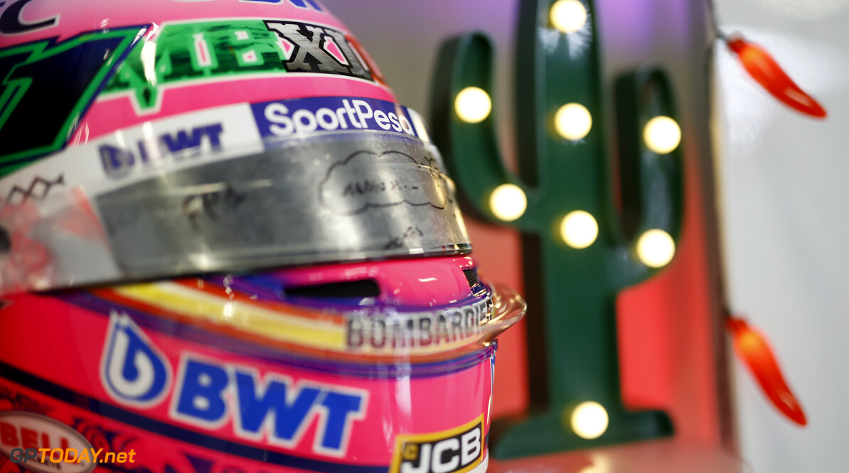 Sergio Perez, Racing Point Mexico helmet  Glenn Dunbar    helmet garage GP19018b GP19018b_M F1 GP Mexico Mexican Autodromo-Hermanos-Rodriguez