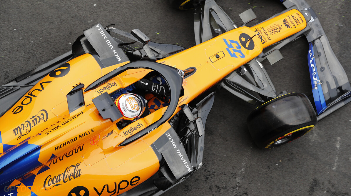Carlos Sainz, McLaren MCL34   Steven Tee    over head overhead cock pit pit lane pits