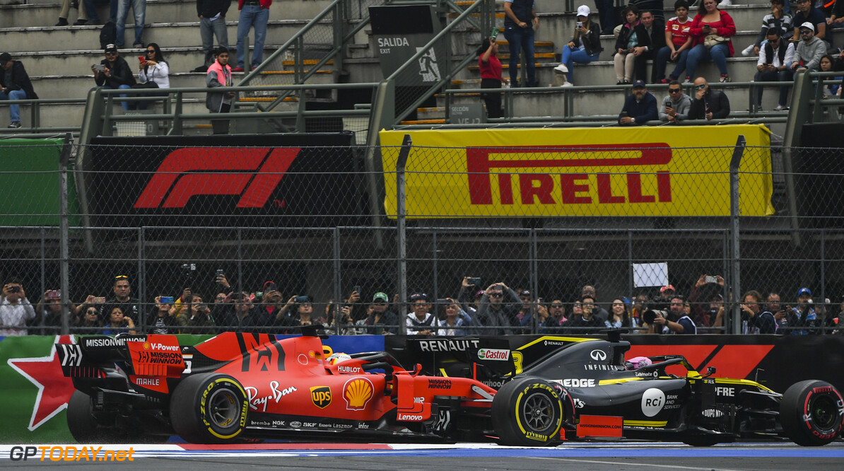 2019 Mexican GP MEXICO CITY - OCTOBER 25: Daniel Ricciardo, Renault R.S.19, leads Sebastian Vettel, Ferrari SF90 during the 2019 Formula One Mexican Grand Prix at Autodromo Hermanos Rodriguez, on October 25, 2019 in Mexico City, Mexico. (Photo by Mark Sutton / LAT Images) 2019 Mexican GP Mark Sutton  Mexico  pirelli Action