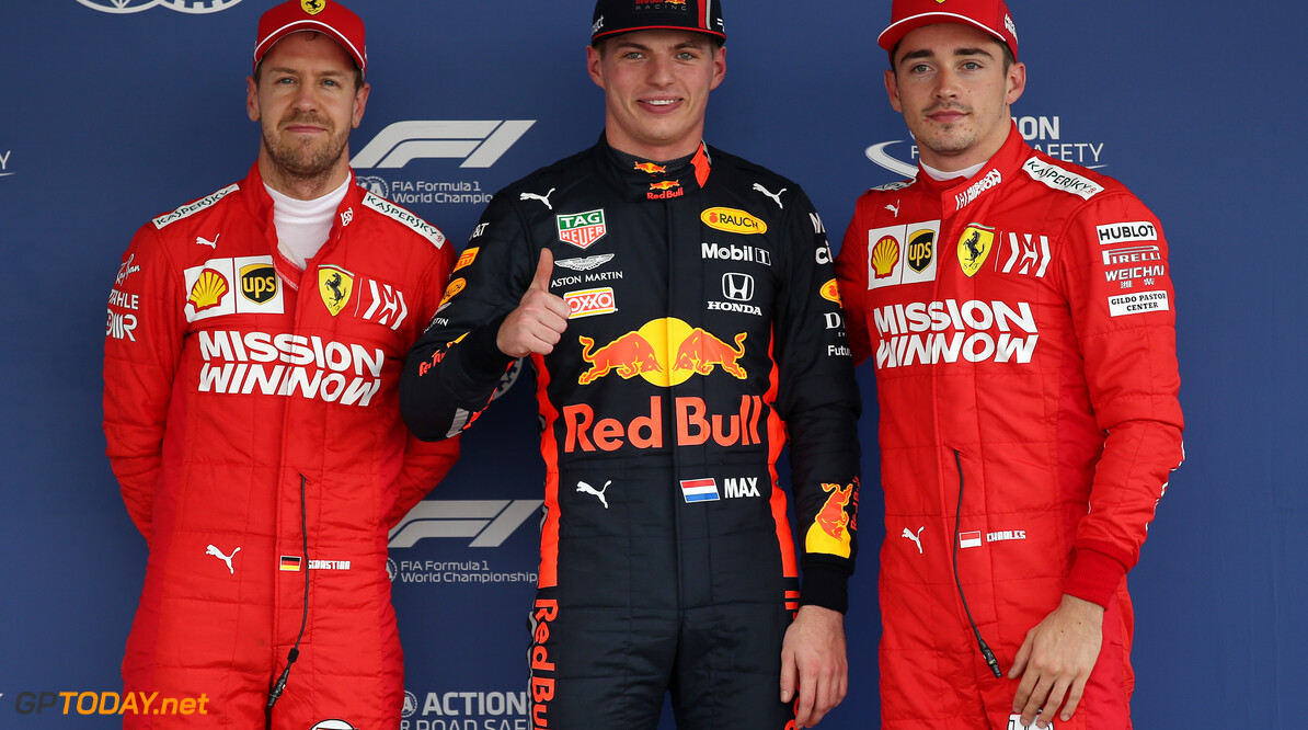 Formula One World Championship Pole Position for Max Verstappen (NLD) Red Bull Racing RB15, 2nd for Charles Leclerc (MON) Ferrari SF90 and 3rd for Sebastian Vettel (GER) Ferrari SF90. 26.10.2019. Formula 1 World Championship, Rd 18, Mexican Grand Prix, Mexico City, Mexico, Qualifying Day. - www.xpbimages.com, EMail: requests@xpbimages.com (C) Copyright: Batchelor / XPB Images Motor Racing - Formula One World Championship - Mexican Grand Prix - Qualifying Day - Mexico City, Mexico XPB Images Mexico City Mexico  Formel1 Formel F1 Formula 1 Formula1 GP Grand Prix October Mexico Mexico City Mexican Autodromo Hermanos Saturday 26 10 2019 Qualifying Portrait