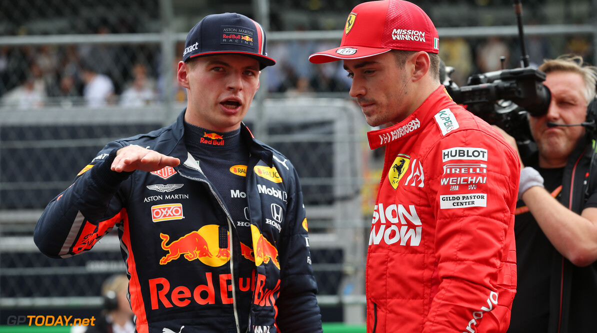 Formula One World Championship Max Verstappen (NLD) Red Bull Racing RB15 and Charles Leclerc (MON) Ferrari SF90. 26.10.2019. Formula 1 World Championship, Rd 18, Mexican Grand Prix, Mexico City, Mexico, Qualifying Day. - www.xpbimages.com, EMail: requests@xpbimages.com (C) Copyright: Batchelor / XPB Images Motor Racing - Formula One World Championship - Mexican Grand Prix - Qualifying Day - Mexico City, Mexico XPB Images Mexico City Mexico  Formel1 Formel F1 Formula 1 Formula1 GP Grand Prix October Mexico Mexico City Mexican Autodromo Hermanos Saturday 26 10 2019 Qualifying Portrait