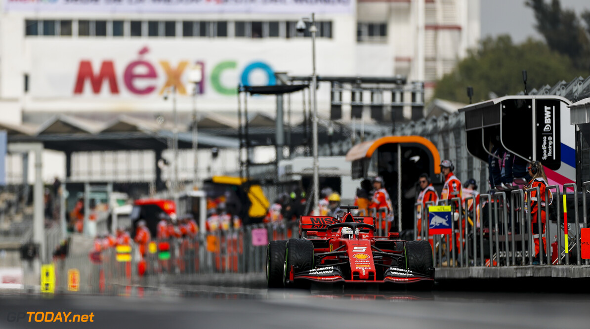 2019 Mexican GP MEXICO CITY - OCTOBER 26: Sebastian Vettel, Ferrari SF90 during the 2019 Formula One Mexican Grand Prix at Autodromo Hermanos Rodriguez, on October 26, 2019 in Mexico City, Mexico. (Photo by Zak Mauger / LAT Images) 2019 Mexican GP Zak Mauger  Mexico  action ts-live