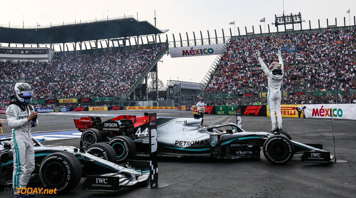 Formula One World Championship Lewis Hamilton (GBR), Mercedes AMG F1  and Valtteri Bottas (FIN), Mercedes AMG F1  27.10.2019. Formula 1 World Championship, Rd 18, Mexican Grand Prix, Mexico City, Mexico, Race Day. - www.xpbimages.com, EMail: requests@xpbimages.com (C) Copyright: Charniaux / XPB Images Motor Racing - Formula One World Championship - Mexican Grand Prix - Race Day - Mexico City, Mexico XPB Images Mexico City Mexico  Formel1 Formel F1 Formula 1 Formula1 GP Grand Prix Mexico Mexico City Mexican Autodromo Hermanos Sunday October 27 10 2019 Podium Portrait