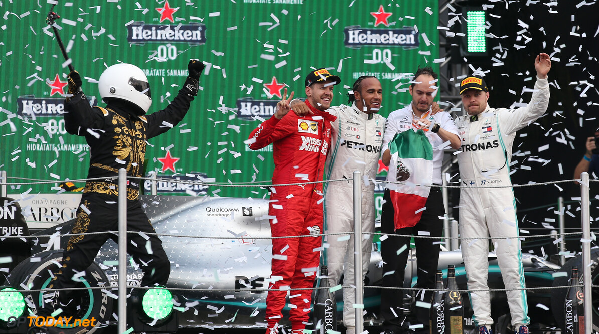 Formula One World Championship 1st place Lewis Hamilton (GBR) Mercedes AMG F1 W10 2nd Sebastian Vettel (GER) Ferrari SF90 and 3rd place Valtteri Bottas (FIN) Mercedes AMG F1 W10. 27.10.2019. Formula 1 World Championship, Rd 18, Mexican Grand Prix, Mexico City, Mexico, Race Day. - www.xpbimages.com, EMail: requests@xpbimages.com (C) Copyright: Batchelor / XPB Images Motor Racing - Formula One World Championship - Mexican Grand Prix - Race Day - Mexico City, Mexico XPB Images Mexico City Mexico  Formel1 Formel F1 Formula 1 Formula1 GP Grand Prix Mexico Mexico City Mexican Autodromo Hermanos Sunday October 27 10 2019 Podium Portrait