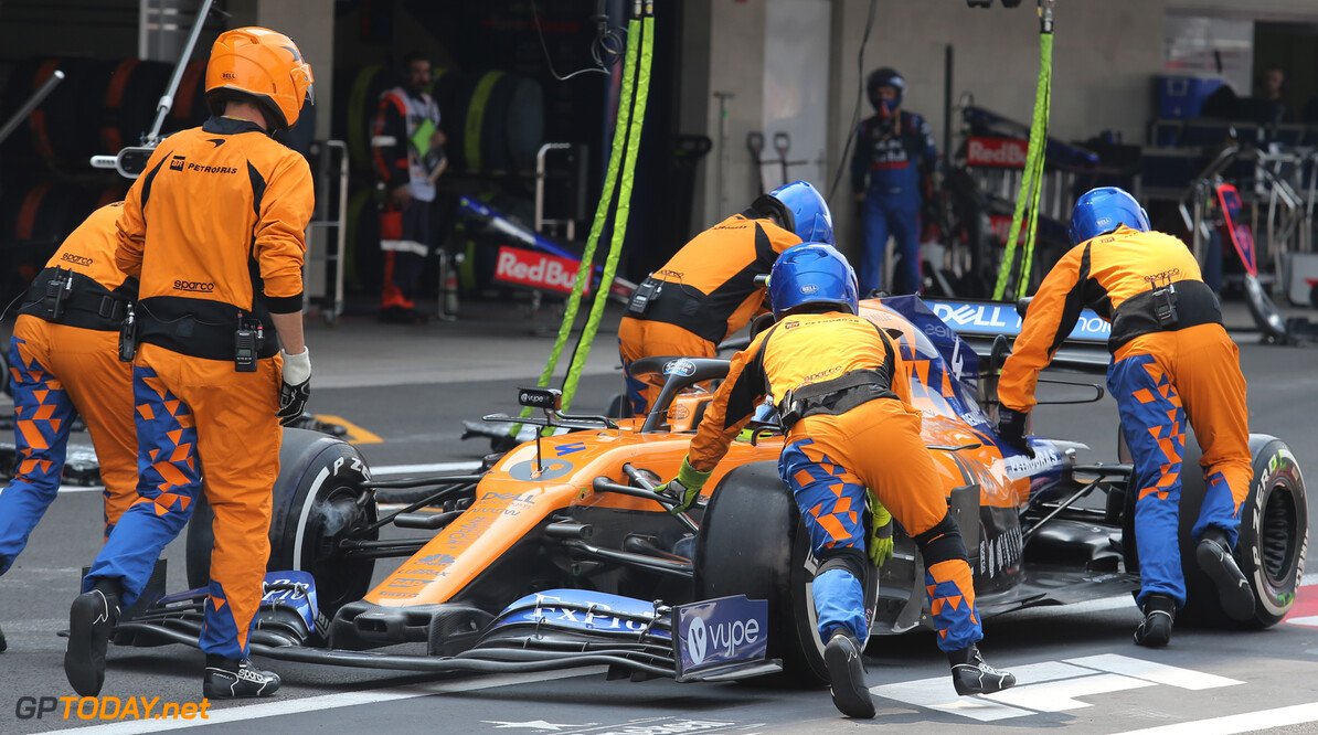 Formula One World Championship Lando Norris (GBR), McLaren F1 Team during pitstop 27.10.2019. Formula 1 World Championship, Rd 18, Mexican Grand Prix, Mexico City, Mexico, Race Day. - www.xpbimages.com, EMail: requests@xpbimages.com (C) Copyright: Charniaux / XPB Images Motor Racing - Formula One World Championship - Mexican Grand Prix - Race Day - Mexico City, Mexico XPB Images Mexico City Mexico  Formel1 Formel F1 Formula 1 Formula1 GP Grand Prix Mexico Mexico City Mexican Autodromo Hermanos Sunday October 27 10 2019 Race Action Track