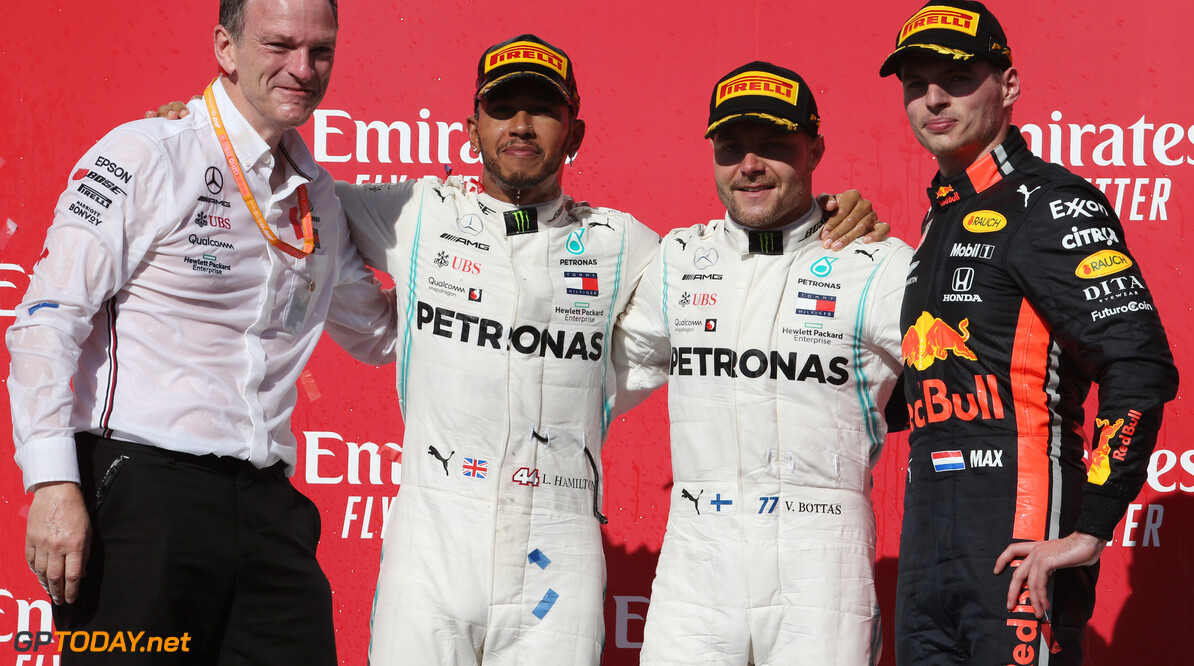 Formula One World Championship 1st place for Valtteri Bottas (FIN) Mercedes AMG F1 W10, 2nd place and new world champion Lewis Hamilton (GBR) Mercedes AMG F1 W10 and 3rd place Max Verstappen (NLD) Red Bull Racing RB15. 03.11.2019. Formula 1 World Championship, Rd 19, United States Grand Prix, Austin, Texas, USA, Race Day. - www.xpbimages.com, EMail: requests@xpbimages.com (C) Copyright: Batchelor / XPB Images Motor Racing - Formula One World Championship - United States Grand Prix - Race Day - Austin, USA XPB Images Austin USA  Formel1 Formel F1 Formula 1 Formula1 GP Grand Prix one Circuit of The Americas November COTA Texas USA United States of America Sunday 03 3 11 2019 Podium Portrait