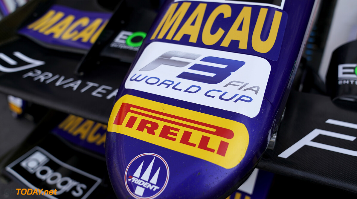FIA Formula 3 CIRCUITO DA GUIA, MACAU - NOVEMBER 13: Macau details on the F3 car during the Macau GP at Circuito da Guia on November 13, 2019 in Circuito da Guia, Macau. FIA Formula 3 LAT  Macau  FIA Formula 3