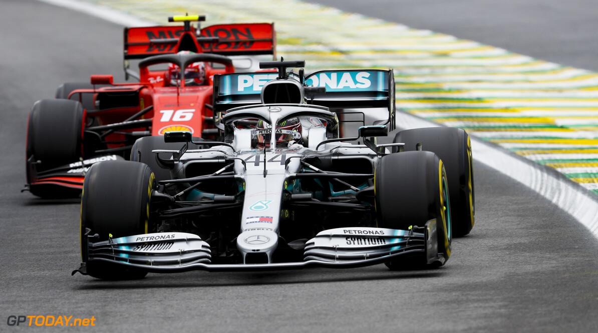 2019 Brazilian GP SAO PAULO, BRAZIL - NOVEMBER 15: Lewis Hamilton, Mercedes AMG F1 W10 and Charles Leclerc, Ferrari SF90 during the 2019 Formula One Brazilian Grand Prix at Aut?dromo Jos? Carlos Pace, on November 15, 2019 in Sao Paulo, Brazil. (Photo by Zak Mauger / LAT Images) 2019 Brazilian GP Zak Mauger  Brazil  action ts-live