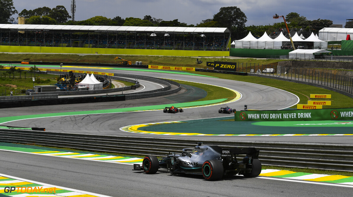 2019 Brazilian GP SAO PAULO, BRAZIL - NOVEMBER 16: Lewis Hamilton, Mercedes AMG F1 W10 during the 2019 Formula One Brazilian Grand Prix at Aut?dromo Jos? Carlos Pace, on November 16, 2019 in Sao Paulo, Brazil. (Photo by Mark Sutton / LAT Images) 2019 Brazilian GP Mark Sutton  Brazil  action Pirelli