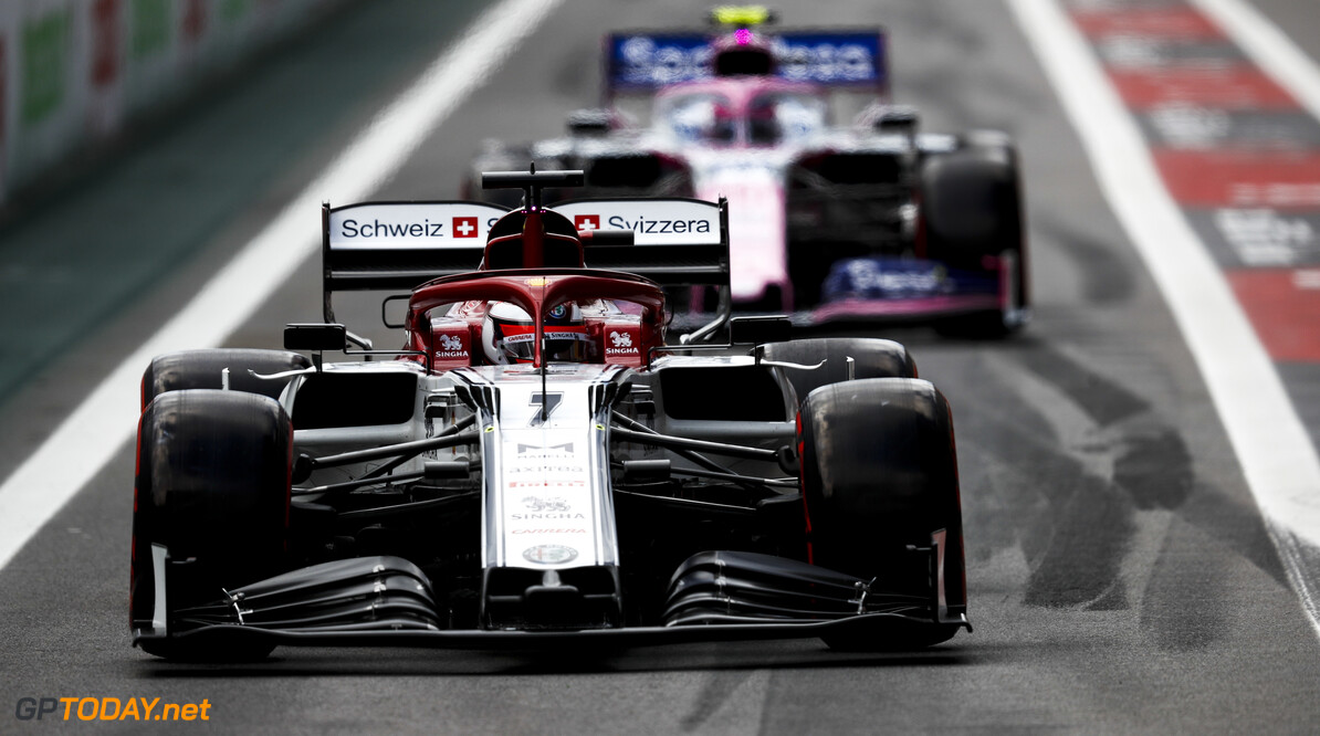 2019 Brazilian GP SAO PAULO, BRAZIL - NOVEMBER 16: Kimi Raikkonen, Alfa Romeo Racing C38 and Lance Stroll, Racing Point RP19 during the 2019 Formula One Brazilian Grand Prix at Aut?dromo Jos? Carlos Pace, on November 16, 2019 in Sao Paulo, Brazil. (Photo by Glenn Dunbar / LAT Images) 2019 Brazilian GP Glenn Dunbar  Brazil  action ts-live
