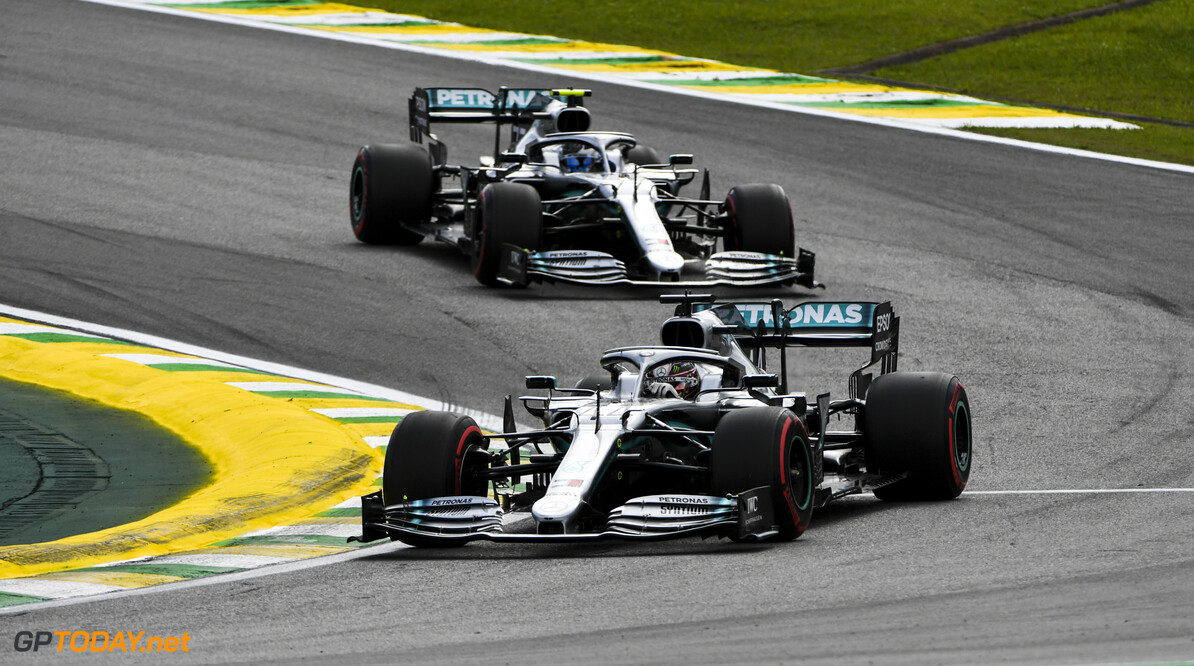 2019 Brazilian GP SAO PAULO, BRAZIL - NOVEMBER 16: Lewis Hamilton, Mercedes AMG F1 W10 leads Valtteri Bottas, Mercedes AMG W10 during the 2019 Formula One Brazilian Grand Prix at Aut?dromo Jos? Carlos Pace, on November 16, 2019 in Sao Paulo, Brazil. (Photo by Mark Sutton / LAT Images) 2019 Brazilian GP Mark Sutton  Brazil  action ts-live