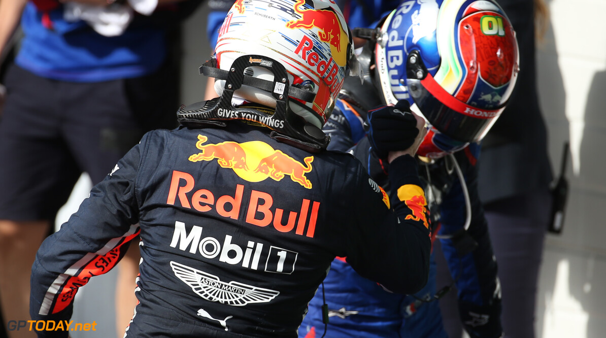 Formula One World Championship 1st place Max Verstappen (NLD) Red Bull Racing RB15 and 2nd place Pierre Gasly (FRA) Scuderia Toro Rosso STR14. 17.11.2019. Formula 1 World Championship, Rd 20, Brazilian Grand Prix, Sao Paulo, Brazil, Race Day. - www.xpbimages.com, EMail: requests@xpbimages.com (C) Copyright: Batchelor / XPB Images Motor Racing - Formula One World Championship - Brazilian Grand Prix - Race Day - Sao Paulo, Brazil XPB Images Sao Paulo Brazil  Formel1 Formel F1 Formula 1 Formula1 GP Grand Prix one November Brazil Brasil Brazilian Brasilian Sao Paulo Interlagos Autodromo Sunday 17 11 2019 Podium Portrait