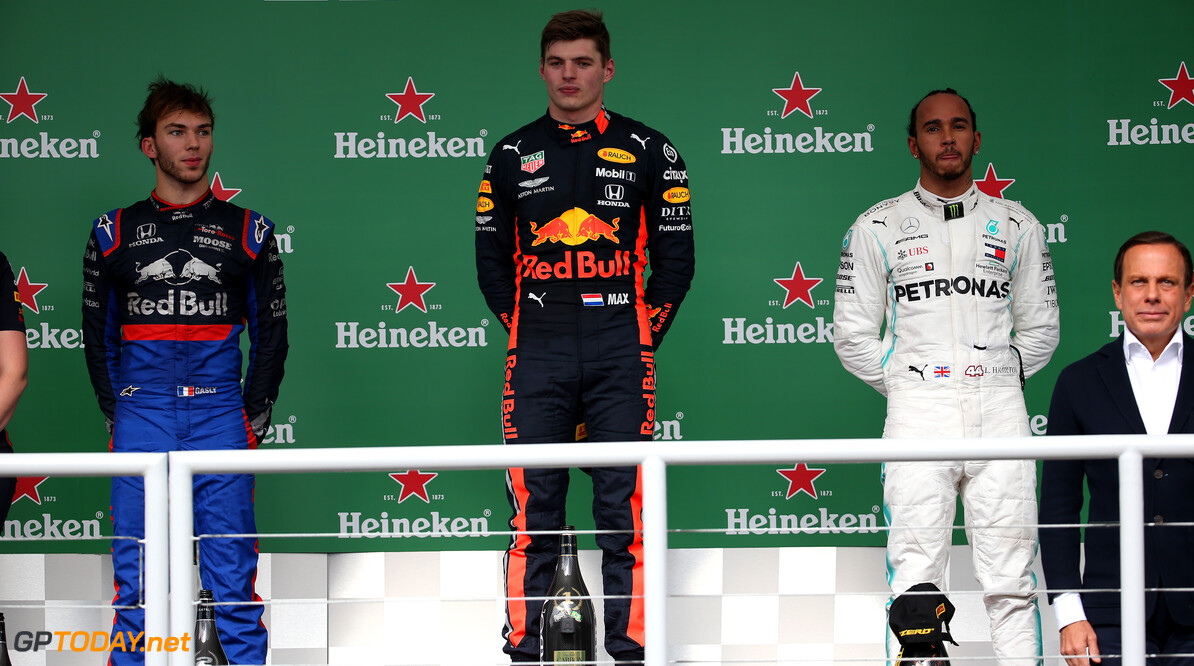 Formula One World Championship 1st place Max Verstappen (NLD) Red Bull Racing RB15, 2nd place Pierre Gasly (FRA) Scuderia Toro Rosso STR14 and 3rd place Lewis Hamilton (GBR) Mercedes AMG F1 W10. 17.11.2019. Formula 1 World Championship, Rd 20, Brazilian Grand Prix, Sao Paulo, Brazil, Race Day. - www.xpbimages.com, EMail: requests@xpbimages.com (C) Copyright: Batchelor / XPB Images Motor Racing - Formula One World Championship - Brazilian Grand Prix - Race Day - Sao Paulo, Brazil XPB Images Sao Paulo Brazil  Formel1 Formel F1 Formula 1 Formula1 GP Grand Prix one November Brazil Brasil Brazilian Brasilian Sao Paulo Interlagos Autodromo Sunday 17 11 2019 Podium Portrait