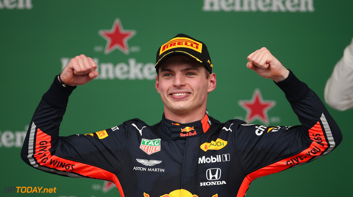 Formula One World Championship 1st place Max Verstappen (NLD) Red Bull Racing RB15. 17.11.2019. Formula 1 World Championship, Rd 20, Brazilian Grand Prix, Sao Paulo, Brazil, Race Day. - www.xpbimages.com, EMail: requests@xpbimages.com (C) Copyright: Batchelor / XPB Images Motor Racing - Formula One World Championship - Brazilian Grand Prix - Race Day - Sao Paulo, Brazil XPB Images Sao Paulo Brazil  Formel1 Formel F1 Formula 1 Formula1 GP Grand Prix one November Brazil Brasil Brazilian Brasilian Sao Paulo Interlagos Autodromo Sunday 17 11 2019 Podium Portrait