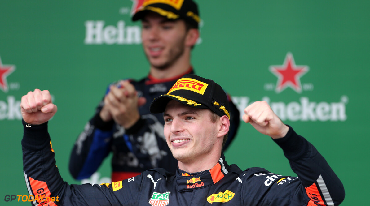 Formula One World Championship Max Verstappen (NLD), Red Bull Racing  17.11.2019. Formula 1 World Championship, Rd 20, Brazilian Grand Prix, Sao Paulo, Brazil, Race Day. - www.xpbimages.com, EMail: requests@xpbimages.com (C) Copyright: Charniaux / XPB Images Motor Racing - Formula One World Championship - Brazilian Grand Prix - Race Day - Sao Paulo, Brazil XPB Images Sao Paulo Brazil  Formel1 Formel F1 Formula 1 Formula1 GP Grand Prix one November Brazil Brasil Brazilian Brasilian Sao Paulo Interlagos Autodromo Sunday 17 11 2019 Podium Portrait