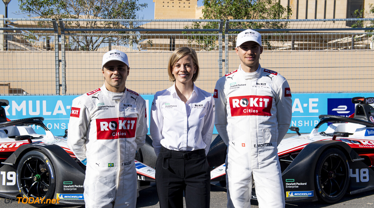 2020 Diriyah E-prix I RIYADH STREET CIRCUIT, SAUDI ARABIA - NOVEMBER 21: Felipe Massa (BRA), Venturi, EQ Silver Arrow 01, Susie Wolff, Team Principal, Venturi and Edoardo Mortara (CHE) Venturi, EQ Silver Arrow 01 during the Diriyah E-prix I at Riyadh Street Circuit on November 21, 2019 in Riyadh Street Circuit, Saudi Arabia. (Photo by Simon Galloway / LAT Images) 2020 Diriyah E-prix I Simon Galloway  Saudi Arabia  portrait ts-live