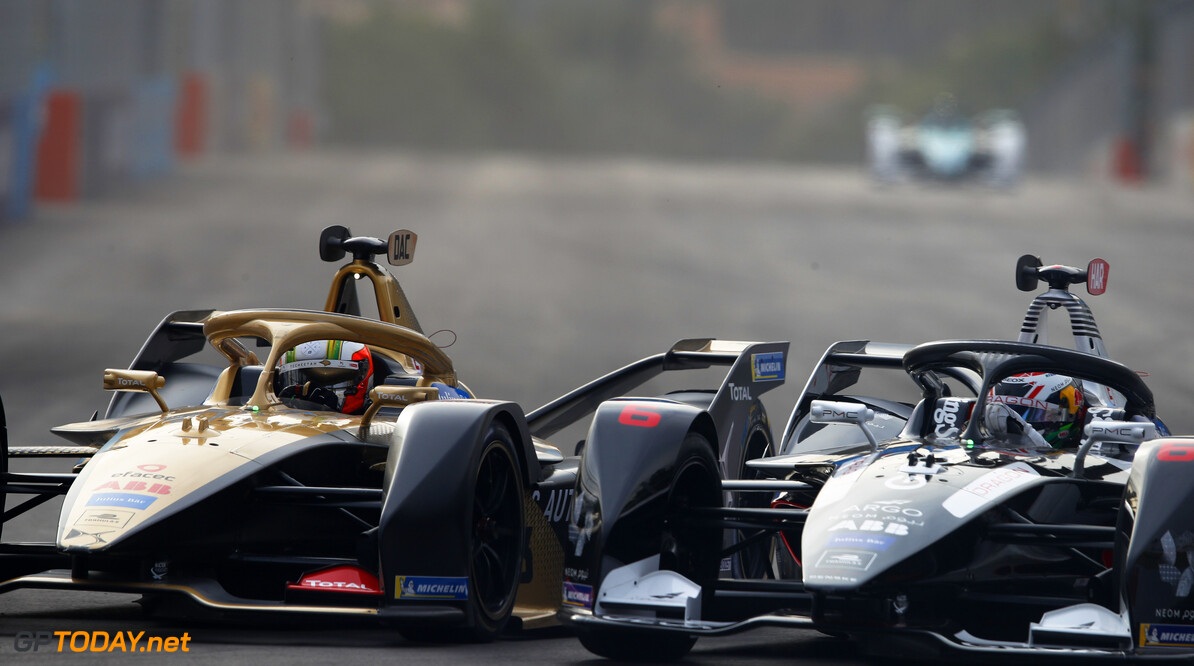 Antonio Felix da Costa (PRT), DS Techeetah, DS E-Tense FE20, battles with Brendon Hartley (NZL), GEOX Dragon, Penske EV-4.  Joe Portlock    action