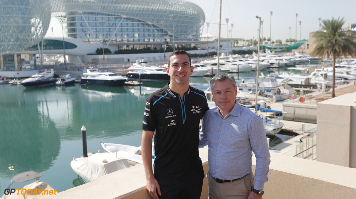 Formula One World Championship ROKiT Williams Racing Confirms Nicholas Latifi as Race Driver for 2020. ROKiT Williams Racing Confirms Nicholas Latifi as Race Driver for 2020. Nicholas Latifi  with Francois Dumontier, Canadian Grand Prix promoter. Abu Dhabi Grand Prix, Thursday 28th November 2019.. Yas Marina Circuit, Abu Dhabi, Preparation Day. 28.11.2019. Formula 1 World Championship, Rd 21, Abu Dhabi Grand Prix, Yas Marina Circuit, Abu Dhabi, Preparation Day. - www.xpbimages.com, EMail: requests@xpbimages.com (C) Copyright: Batchelor / XPB Images Motor Racing - Formula One World Championship - Abu Dhabi Grand Prix - Preparation Day - Abu Dhabi, UAE XPB Images Abu Dhabi Abu Dhabi  Formel1 Formel F1 Formula 1 Formula1 GP Grand Prix one Thursday Portrait Abu Dhabi Yas Marina Circuit Yas Marina UAE United Arab Emirates November 28 11 2019