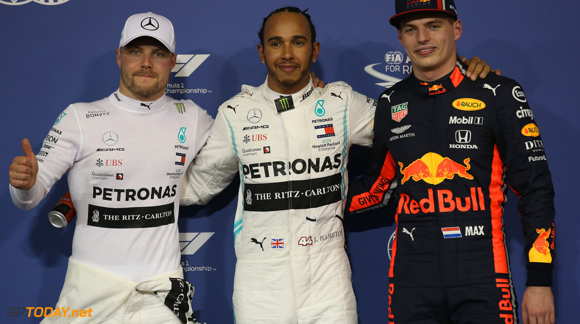 Formula One World Championship Pole for Lewis Hamilton (GBR) Mercedes AMG F1 W10, 2nd for Valtteri Bottas (FIN) Mercedes AMG F1 W10 and 3rd for Max Verstappen (NLD) Red Bull Racing RB15. 30.11.2019. Formula 1 World Championship, Rd 21, Abu Dhabi Grand Prix, Yas Marina Circuit, Abu Dhabi, Qualifying Day. - www.xpbimages.com, EMail: requests@xpbimages.com (C) Copyright: Batchelor / XPB Images Motor Racing - Formula One World Championship - Abu Dhabi Grand Prix - Qualifying Day - Abu Dhabi, UAE XPB Images Abu Dhabi Abu Dhabi  Formel1 Formel F1 Formula 1 Formula1 GP Grand Prix one November Abu Dhabi Yas Marina Circuit Yas Marina UAE United Arab Emirates Saturday 30 11 2019 Qualifying Portrait