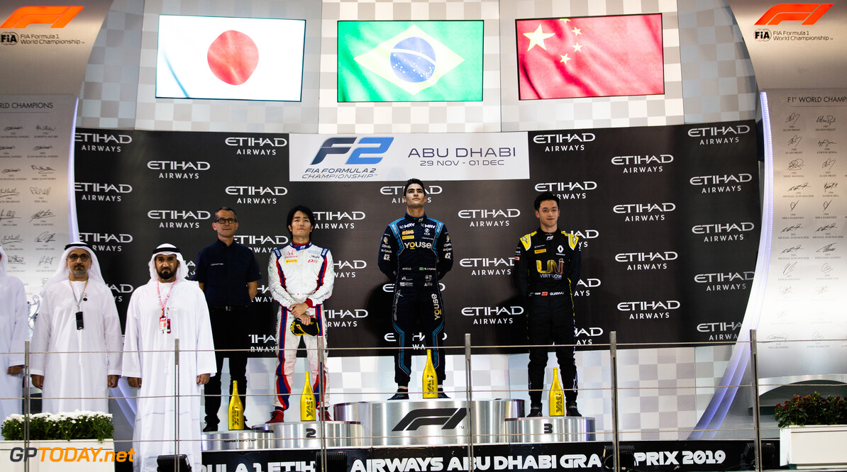 FIA Formula 2 YAS MARINA CIRCUIT, UNITED ARAB EMIRATES - NOVEMBER 30: Sergio Sette Camara (BRA, DAMS) Nobuharu Matsushita (JPN, CARLIN) and Guanyu Zhou (CHN, UNI VIRTUOSI) during the Abu Dhabi at Yas Marina Circuit on November 30, 2019 in Yas Marina Circuit, United Arab Emirates. (Photo by Joe Portlock / LAT Images / FIA F2 Championship) FIA Formula 2 Joe Portlock  United Arab Emirates  FIA Formula 2