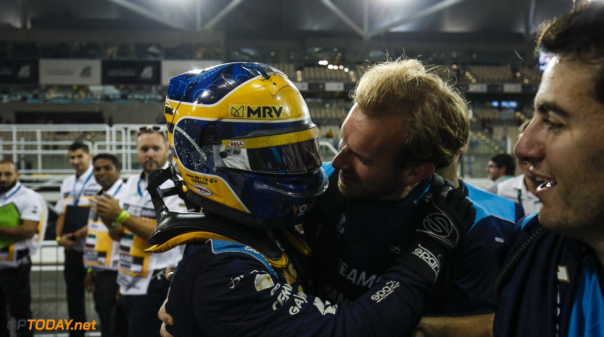 FIA Formula 2 YAS MARINA CIRCUIT, UNITED ARAB EMIRATES - NOVEMBER 30: Sergio Sette Camara (BRA, DAMS), celebrates feature race victory in parc ferme during the Abu Dhabi at Yas Marina Circuit on November 30, 2019 in Yas Marina Circuit, United Arab Emirates. (Photo by Joe Portlock / LAT Images / FIA F2 Championship) FIA Formula 2 Joe Portlock  United Arab Emirates  portrait ts-live
