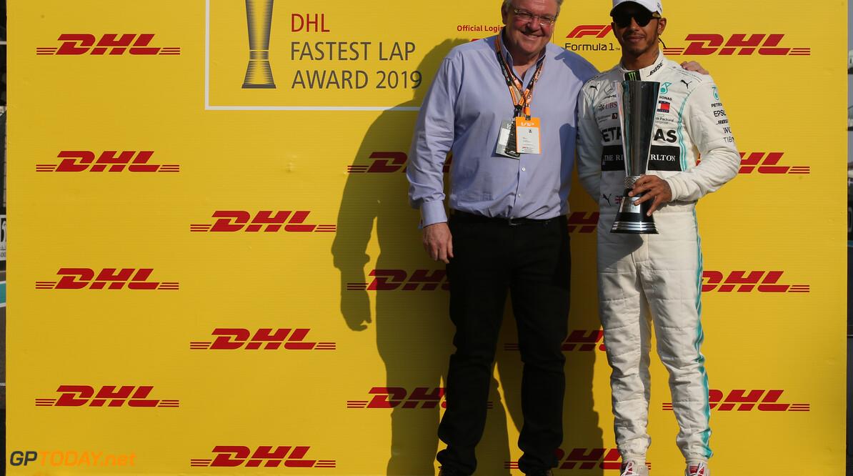 Formula One World Championship Lewis Hamilton (GBR) Mercedes AMG F1 W10 accepts the DHL Fastest Lap Award for 2019. 01.12.2019. Formula 1 World Championship, Rd 21, Abu Dhabi Grand Prix, Yas Marina Circuit, Abu Dhabi, Race Day. - www.xpbimages.com, EMail: requests@xpbimages.com (C) Copyright: Batchelor / XPB Images Motor Racing - Formula One World Championship - Abu Dhabi Grand Prix - Race Day - Abu Dhabi, UAE XPB Images Abu Dhabi Abu Dhabi  Formel1 Formel F1 Formula 1 Formula1 GP Grand Prix one Abu Dhabi Yas Marina Circuit Yas Marina UAE United Arab Emirates Sunday 01 1 12 2019 Race Portrait December