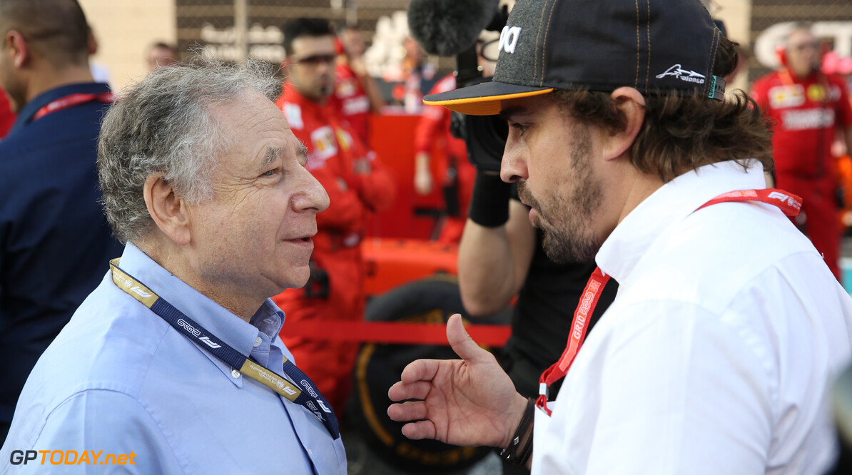 Formula One World Championship Jean Todt and  Fernando Alonso. 01.12.2019. Formula 1 World Championship, Rd 21, Abu Dhabi Grand Prix, Yas Marina Circuit, Abu Dhabi, Race Day. - www.xpbimages.com, EMail: requests@xpbimages.com (C) Copyright: Batchelor / XPB Images Motor Racing - Formula One World Championship - Abu Dhabi Grand Prix - Race Day - Abu Dhabi, UAE XPB Images Abu Dhabi Abu Dhabi  Formel1 Formel F1 Formula 1 Formula1 GP Grand Prix one Abu Dhabi Yas Marina Circuit Yas Marina UAE United Arab Emirates Sunday 01 1 12 2019 Grid Portrait December