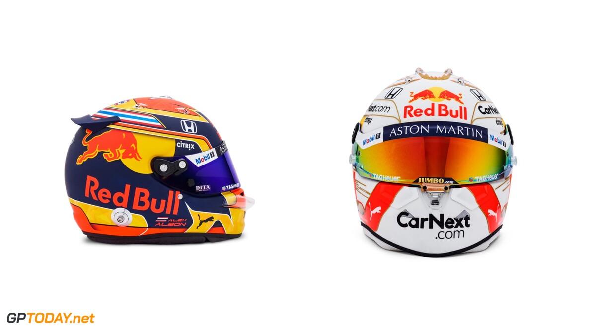 Verstappen and Albon show off their 2020 helmets