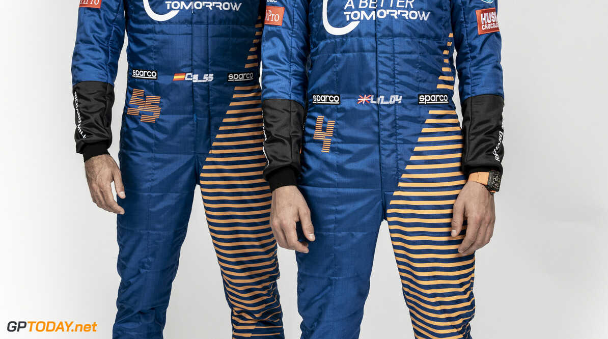 Lando Norris and Carlos Sainz staggered  Malcolm Griffiths    race suit launch 4 55 Carlos Sainz lando norris overalls partners A Better Tomorrow Pirelli Splunk Dell Technologies Sparco Darktrace Arrow CNBC FxPro Huski Estrella Galicia Automation Anywhere Hilton Richard Mille
