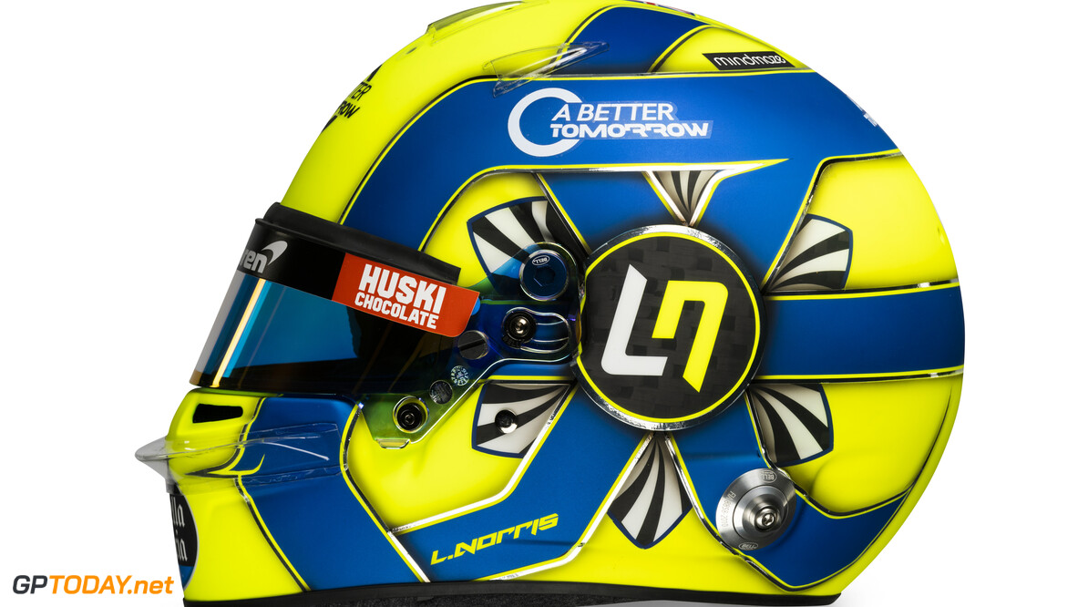 Lando Norris 2020 helmet_side view  Malcolm Griffiths    Lando Norris 4 helmet race mcl35 partners BAT Huski Estrella Galicia LN A Better Tomorrow McLaren yellow blue