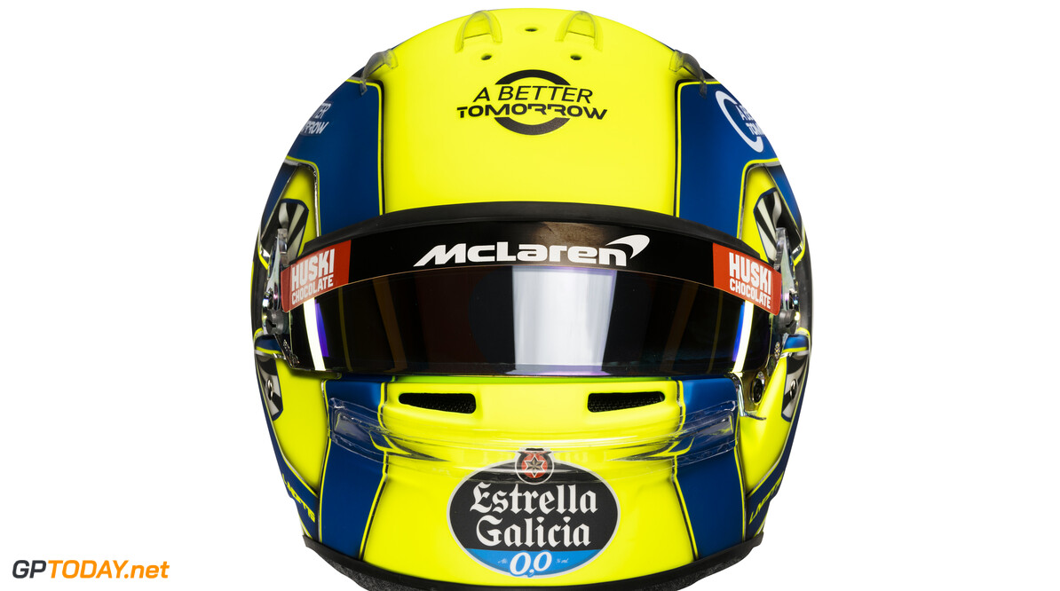 Lando Norris 2020 helmet_front view  Malcolm Griffiths    Lando Norris 4 helmet race mcl35 partners BAT Huski Estrella Galicia LN A Better Tomorrow McLaren yellow blue